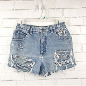 Vintage High Waisted Distressed Denim Shorts SZ 10